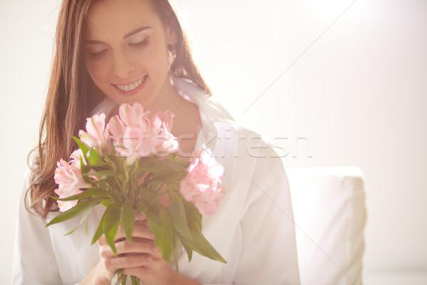 Kwiat radość portret pani patrząc Zdjęcia stock © pressmaster
