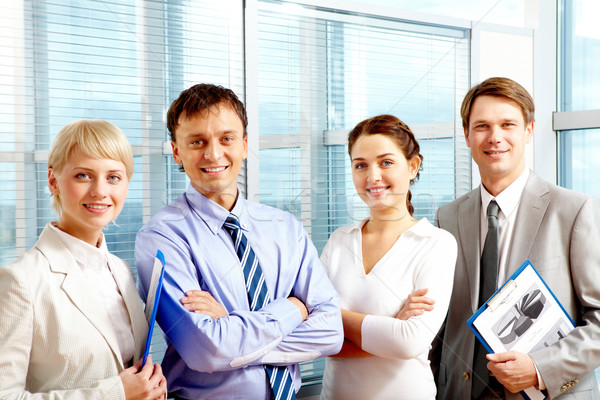 Stock fotó: Sikeres · üzleti · csapat · portré · okos · üzletemberek · áll