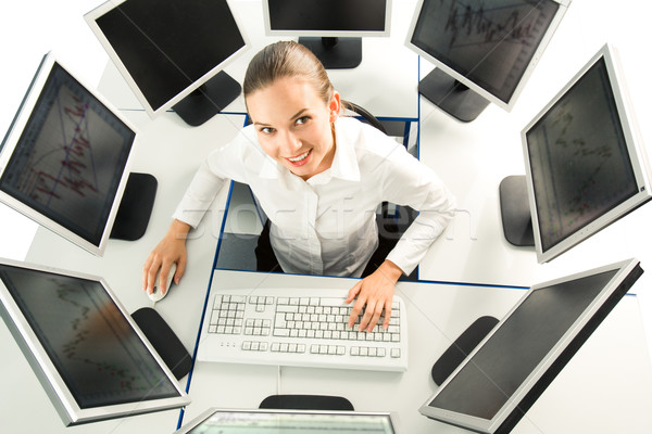 Baan zakenvrouw vergadering bureau verscheidene Stockfoto © pressmaster