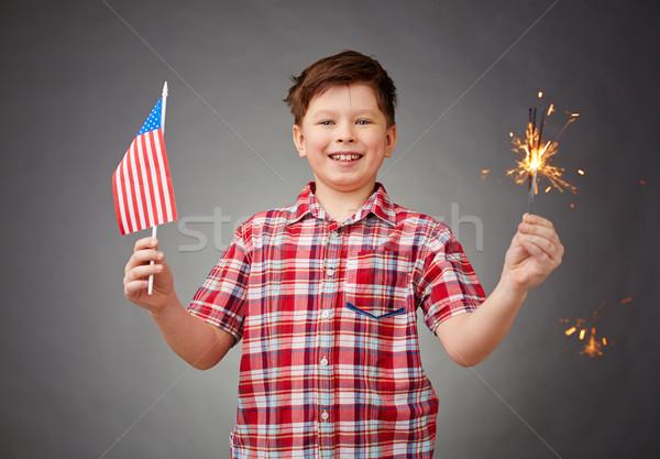 американский праздник радостный мальчика свет американский флаг Сток-фото © pressmaster