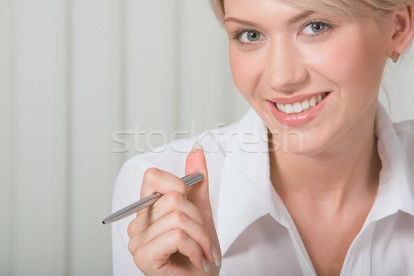 美しい ホワイトカラー ワーカー 小さな 笑みを浮かべて ストックフォト © pressmaster