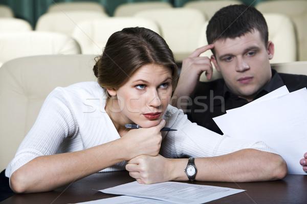 Unalmas előadás csinos fáradt nő ül Stock fotó © pressmaster