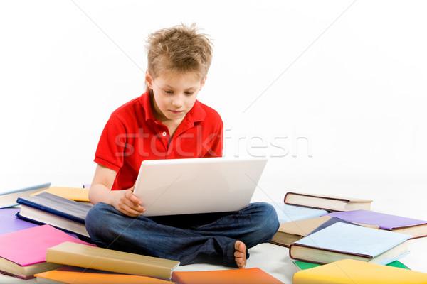 Foto stock: Pensando · retrato · pensativo · rapaz · laptop · computador