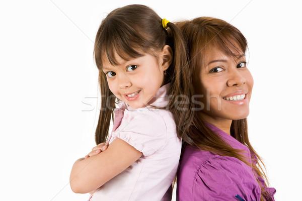 Foto stock: Feliz · criança · mãe · olhando · câmera · smiles