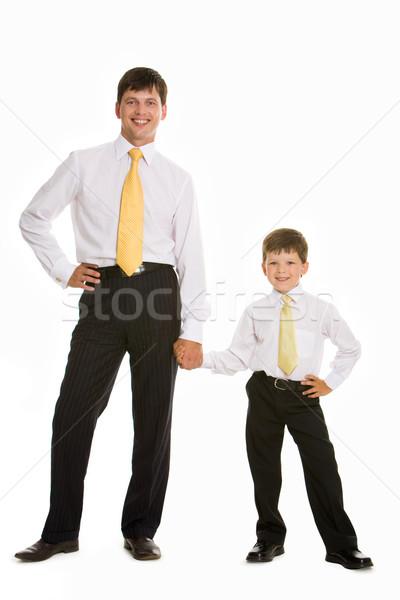 Foto stock: Hijo · de · padre · retrato · sonriendo · hombre · hijo