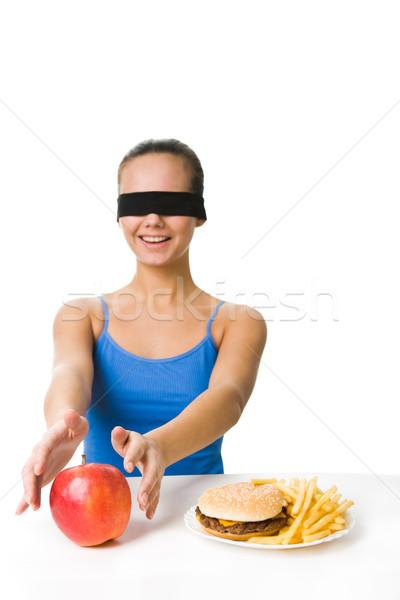 Foto d'archivio: Mela · ritratto · giovane · ragazza · mangiare · fresche
