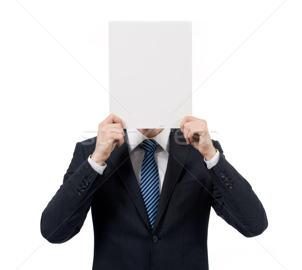 Ogłoszenie obraz mężczyzna strony puste papieru Zdjęcia stock © pressmaster