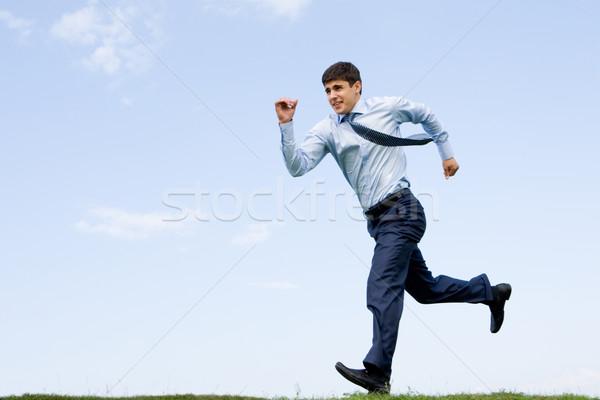 Сток-фото: работает · человека · красивый · бизнесмен · вниз · трава