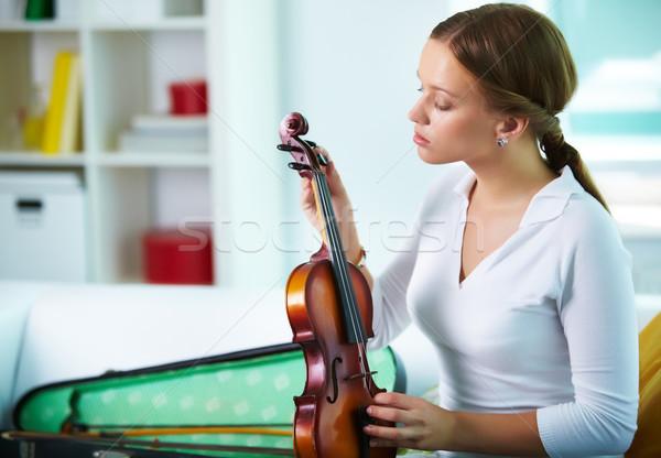 Ayar keman portre genç kadın müzik Stok fotoğraf © pressmaster