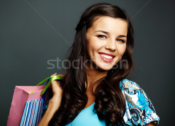 Belo feminino retrato feliz morena compras Foto stock © pressmaster