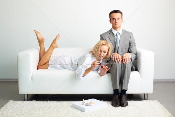 Nőies üzlet vállalkozó nem illetmény figyelem Stock fotó © pressmaster