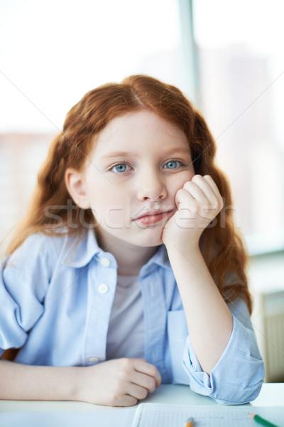 задумчивый девушки девочку прикасаться щека глядя Сток-фото © pressmaster