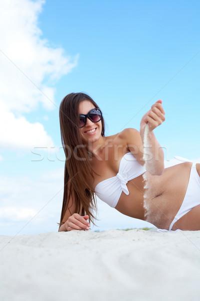 Foto stock: Belo · imagem · feminino · branco · biquíni