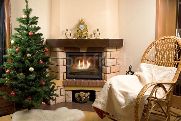 Zdjęcia stock: Obraz · domu · pokój · choinka · ognisko · christmas
