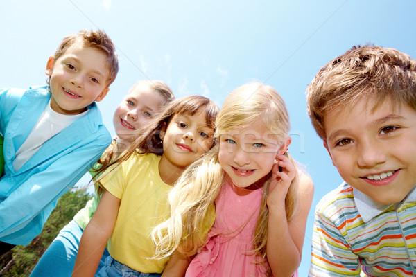 Photo stock: Amis · portrait · souriant · enfants · regarder · caméra