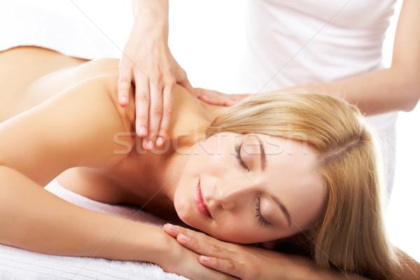 Foto stock: Bem-estar · retrato · feminino · massagem