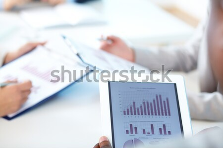 брифинг touchpad рабочих среде бизнеса Сток-фото © pressmaster
