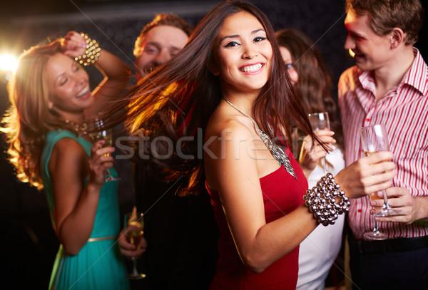 Celebración retrato alegre nina champán flauta Foto stock © pressmaster