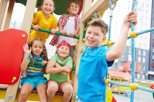 ストックフォト: 幸福 · 画像 · 楽しい · 友達 · 遊び場