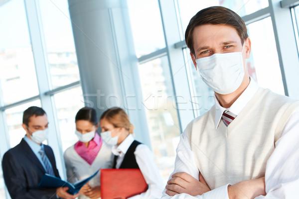 Foto stock: Líder · máscara · olhando · câmera · trabalhando · ambiente