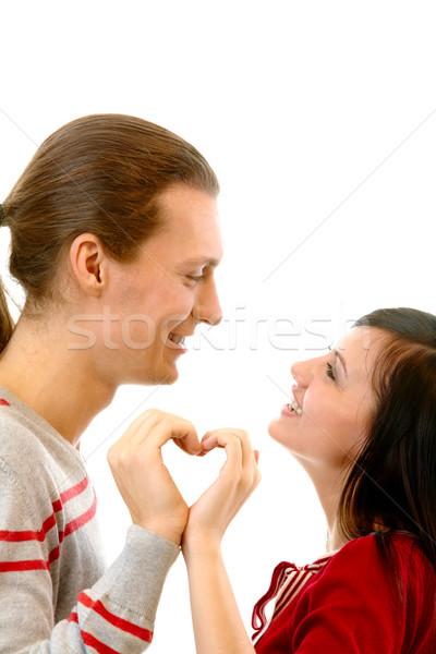 Kochliwy serca portret atrakcyjna dziewczyna chłopak patrząc Zdjęcia stock © pressmaster