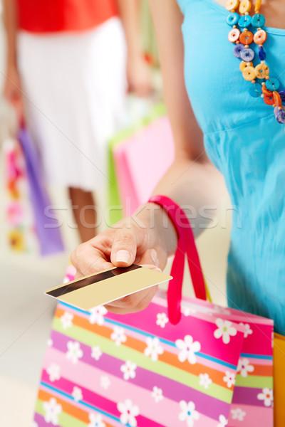 Сток-фото: оплата · изображение · женщину · деньги · синий · банка