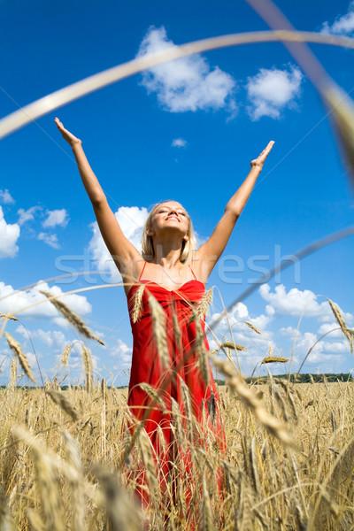şan fotoğraf heyecanlı kadın kırmızı elbise ayakta Stok fotoğraf © pressmaster