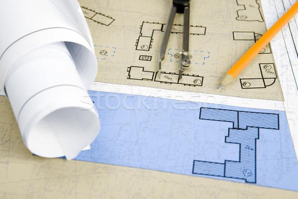 Blueprints projets travail mécanique Photo stock © pressmaster