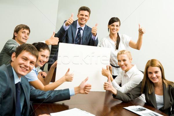 портрет деловые люди картона улыбаясь Сток-фото © pressmaster