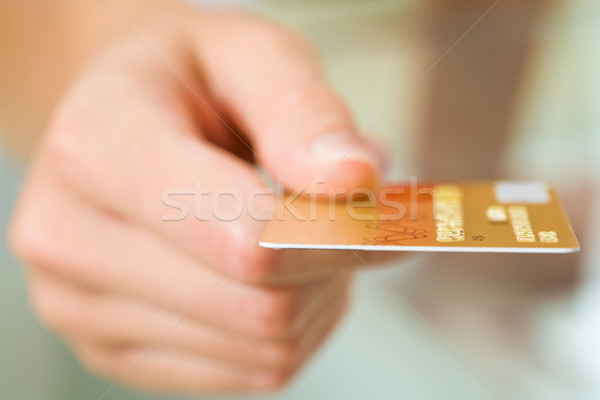 Carte macro image plastique main humaine affaires Photo stock © pressmaster