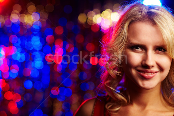 Feliz menina quem câmera festa rosto Foto stock © pressmaster