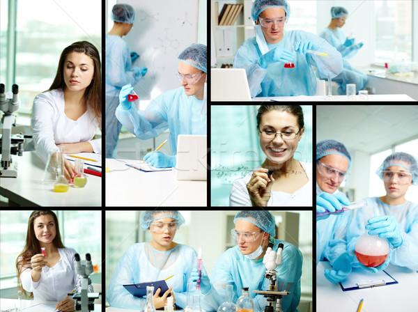 Estudiar nuevos collage químicos laboratorio mujer Foto stock © pressmaster