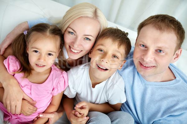 Stock fotó: Szülők · gyerekek · fölött · szög · boldog · család · pihen