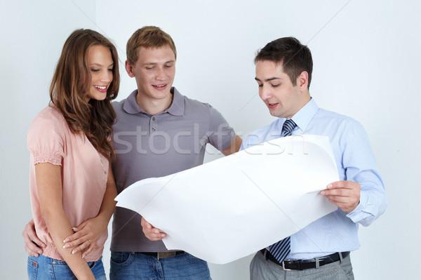 Stock fotó: épület · projekt · üzletember · nyomtatott · férfi · pár