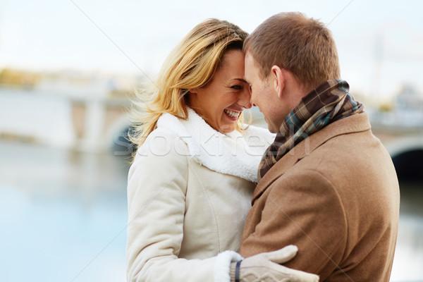örömteli pillanat portré szeretetteljes pár áll Stock fotó © pressmaster