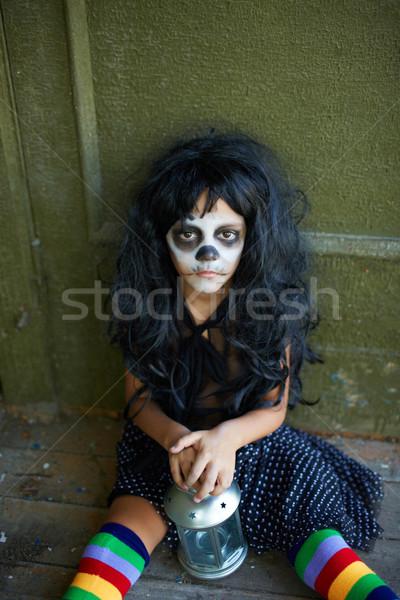 мрачный праздник портрет Хэллоуин девушки фонарь Сток-фото © pressmaster