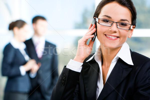 Stock fotó: Hív · telefon · kép · vonzó · okos · üzletasszony
