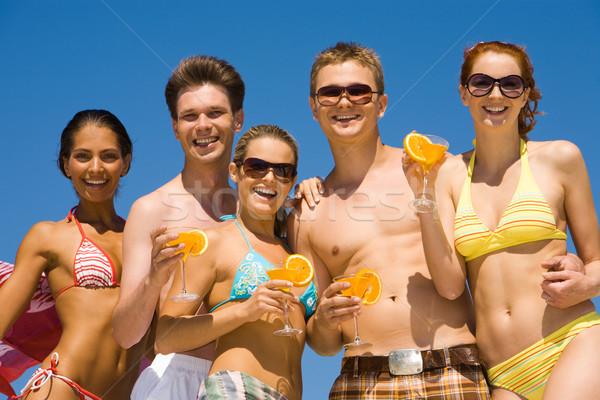 Fiesta retrato cinco feliz adolescentes Foto stock © pressmaster