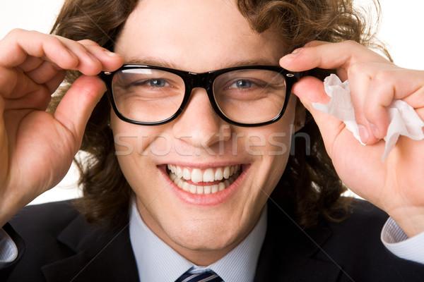 зрение красивый бизнесмен очки смеясь Сток-фото © pressmaster