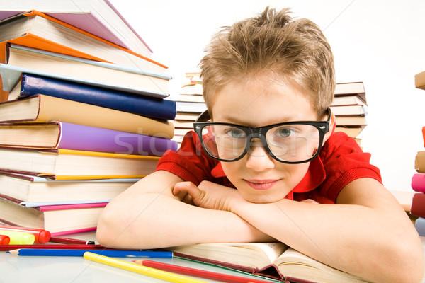 ストックフォト: 沈痛 · 気分 · 肖像 · 若者 · 眼鏡 · 頭