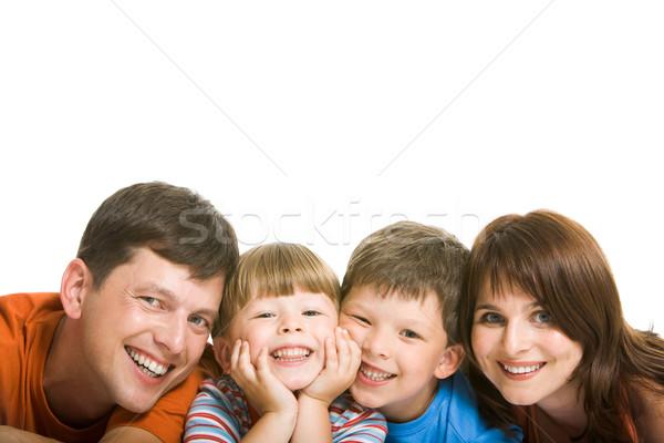 Zdjęcia stock: Przyjemność · line · szczęśliwą · rodzinę · patrząc · kamery
