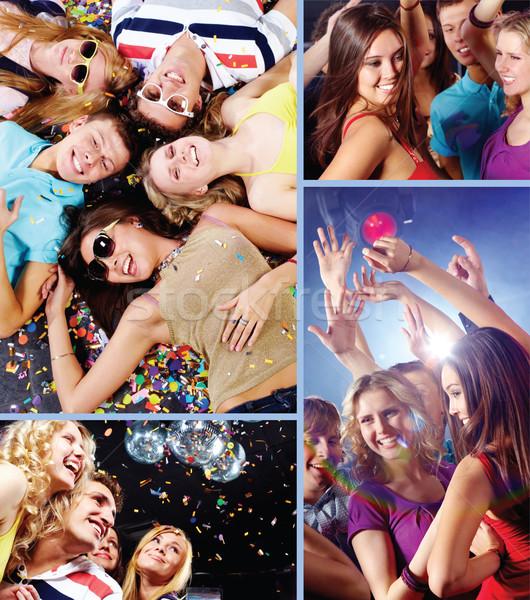 Kollázs vonzó fiatalok szórakozás megnyugtató diszkó Stock fotó © pressmaster