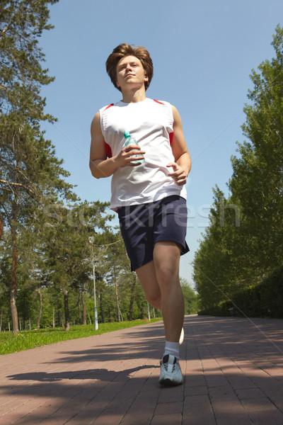 Foto d'archivio: Mattina · eseguire · ritratto · giovane · jogging · parco