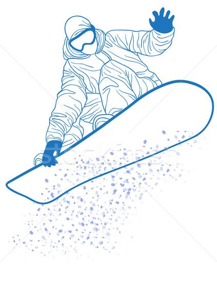 Stockfoto: Blauw · silhouet · springen · man · sport