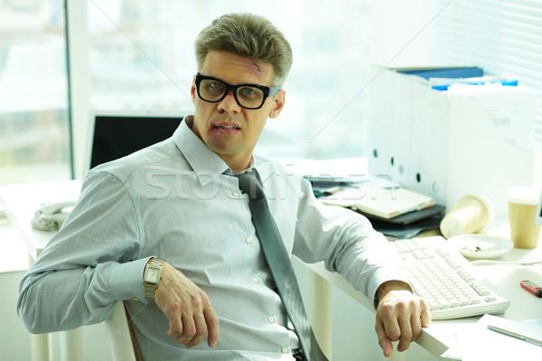 Sluw portret zakenman gezicht naar camera Stockfoto © pressmaster