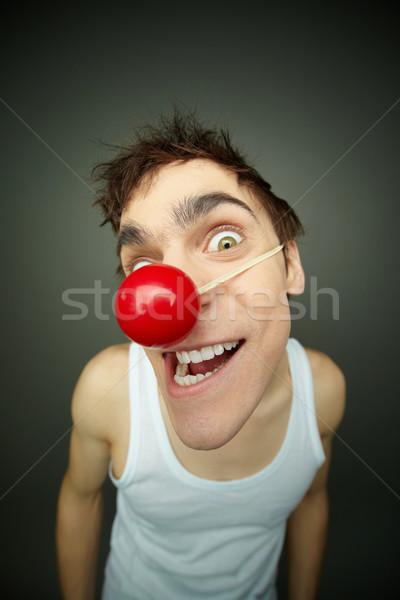 Stockfoto: Gek · vent · naar · jongen · glimlachend