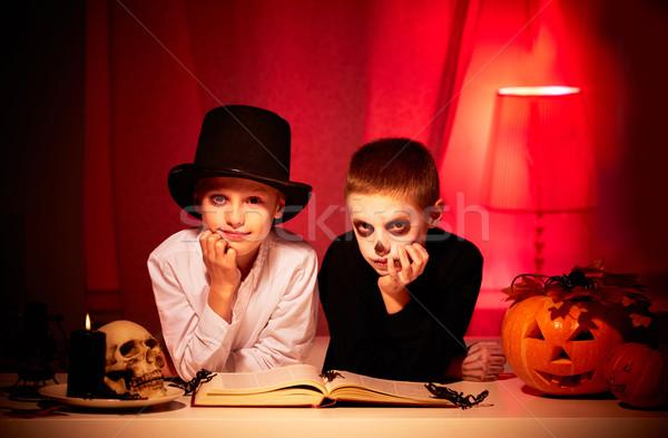 Scary ночь фото близнец жуткий мальчики Сток-фото © pressmaster