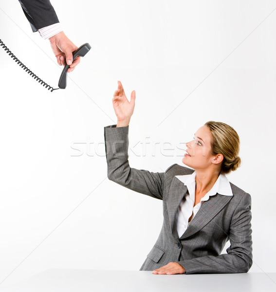 Ocupado secretario imagen grave recepcionista mano Foto stock © pressmaster