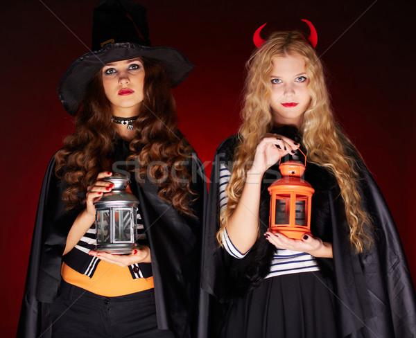 ハロウィン 肖像 2 女の子 提灯 見える ストックフォト © pressmaster