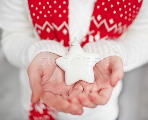 Biały star palmy dekoracyjny zabawki kobiet Zdjęcia stock © pressmaster